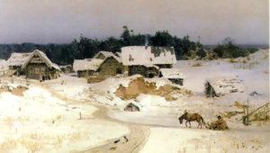 В.Д Поленов картина Зима. Имоченцы 1880